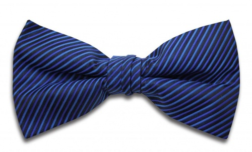 Polyester Pre-Tied Blue Dickie Bow Tie with Diagonal Stripe Design